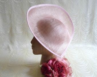 2caf7153b44 Large Pink Hat Base Sinamay Straw Fascinator Hat Form for DIY Hat Millinery  Supply Oblong Teardrop Shape 12 inch Wide Upturned Brim
