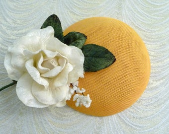 Golden Yellow Fascinator Base Smartie Pillbox Button Style for Hats DIY Millinery