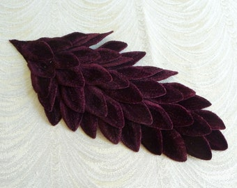 Large Burgundy Velvet Feathers Millinery Pad for Hats, Gowns, Costumes Wine Millinery Unused NOS S233