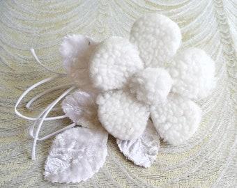 White Fleece Millinery Flower with Velvet Leaves for Hats, Fascinators, Brooch S236