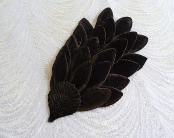 Dark Brown Velvet Feathers Millinery Pad for Hats, Gowns, Costumes Dark Chocolate Millinery Unused NOS S230