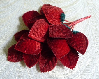 Luscious Velvet Strawberries Millinery Spray of 7 with Leaves Ruby Red Shaded