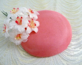 Bubble Gum Pink Fascinator Base Smartie Pillbox Button Style for Hats DIY Millinery