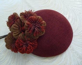 Dark Brick Red Fascinator Base Smartie Pillbox Button Style for Hats DIY Millinery
