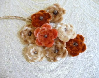Cream coffee tan flowers blossoms embroidered appliques iron-on patches S-1395