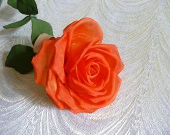 SALE Vintage Long Stem Rose Tangerine Orange Silk Handmade from Germany NOS  Millinery for Hats Fascinators Weddings Floral Arrangements 165623bdbe4