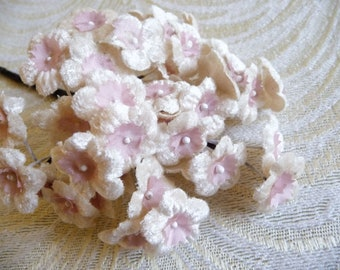 Morethebuckles Rare Millinery Siro Craft Flower Centers Pips 1960\u2019s flower d\u00e9cor pink and off-white flower centers Craft wire floral