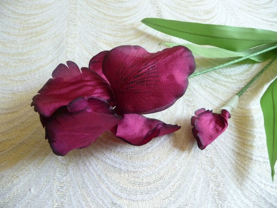 Sale vintage iris and bud burgundy red silk millinery flowers etsy image 0 mightylinksfo