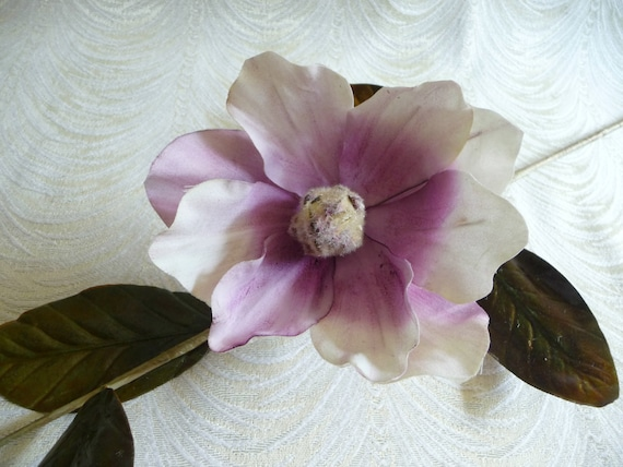 Vintage Magnolia Large Blossom Branch Ivory Lavender Lacquered Etsy