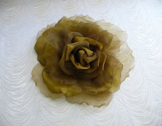 Extra Large Silk And Velvet Rose Moss Olive Brown Gold Etsy