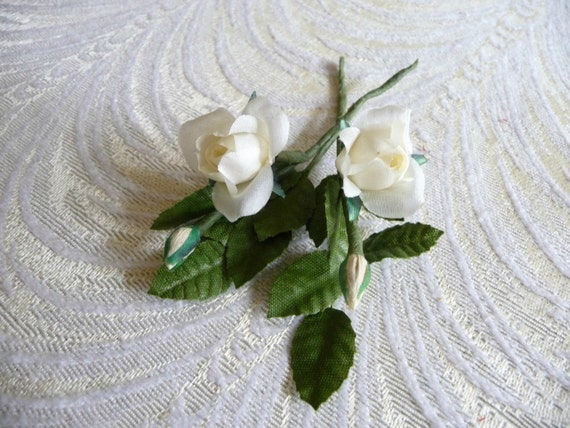 Tiny Roses With Buds For Dolls Corsages Boutonnieres Two Stems Etsy