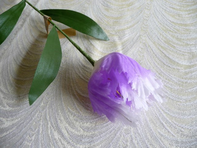 On sale vintage lavender white ombre parrot tulip long stem etsy image 0 mightylinksfo