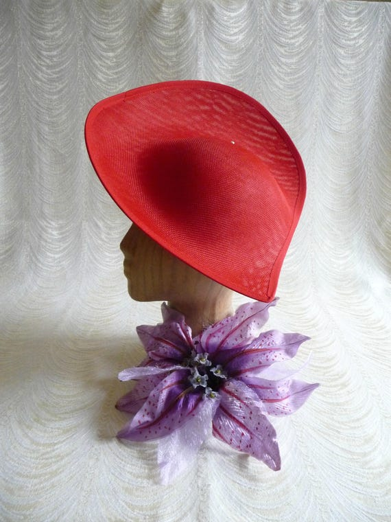 79cd4584293 Large Red Hat Base Straw Fascinator Hat Form for DIY Hat
