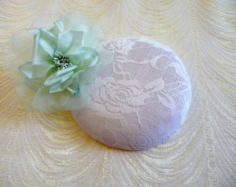 White Fascinator Base DIY Millinery Lace Covered Sinamay Round Hat Form