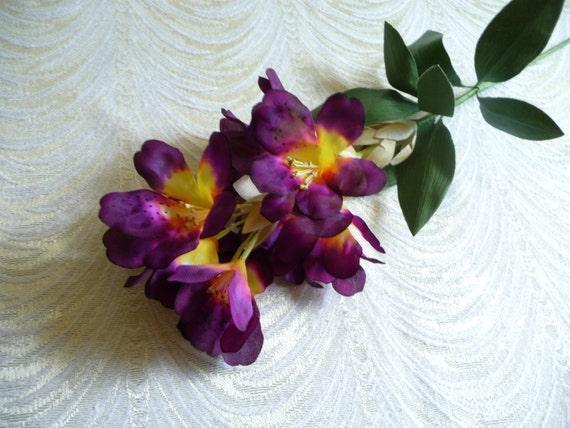 Vintage millinery plum purple silk flower spray rhododendron etsy image 0 mightylinksfo