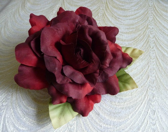 Large Millinery Red Rose With Leaves For Hats Floral Etsy