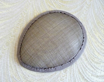 Gray Sinamay Fascinator Base for DIY Hat Millinery Supply Teardrop Shape