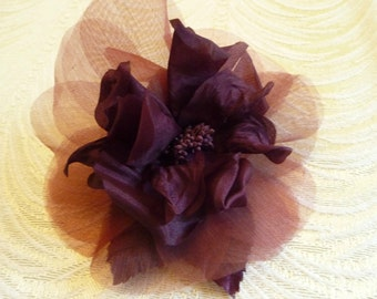 Silk Rose Plum Aubergine Millinery Flower for Hats Fascinators Gowns Hair Clips Corsage 1FN0003AU