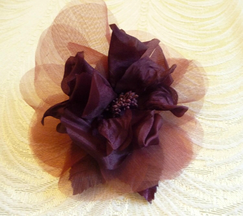 Silk Rose Plum Aubergine Millinery Flower For Hats Fascinators Etsy