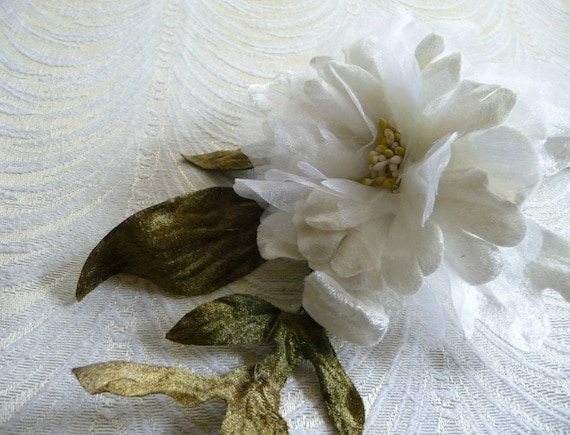 Velvet and silk millinery flower milky white peony with leaves etsy image 0 mightylinksfo