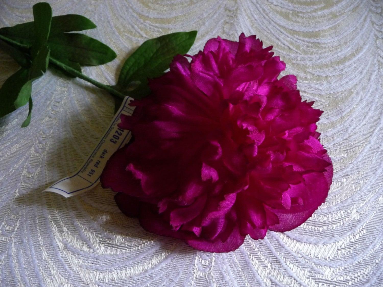 Vintage Peony Silk Flower Deep Rich Fuchsia Magenta Millinery Etsy