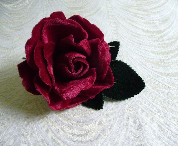 bd5c9eefb19 Velvet Rose in Rich Wine Dark Red Millinery Flower for