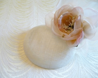 Ivory Fascinator Base Sinamay Smartie Pillbox Button Style for Hats DIY Millinery