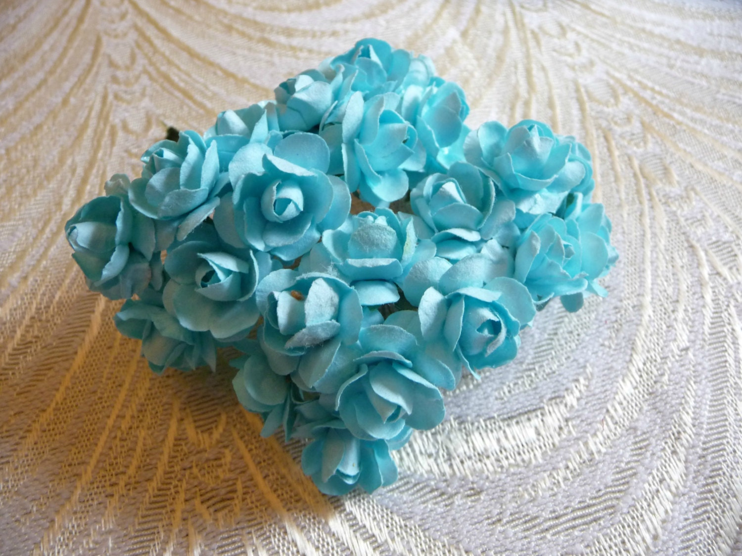 Paper Roses Handmade Flowers Bunch Of 24 Aqua Blue Turquoise Etsy