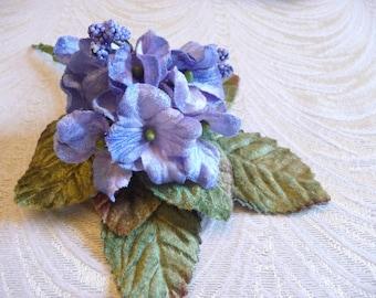 Velvet Flowers Millinery Primrose Bouquet Light Blue Shabby Style for Hats Crafts Weddings 3FN0097B