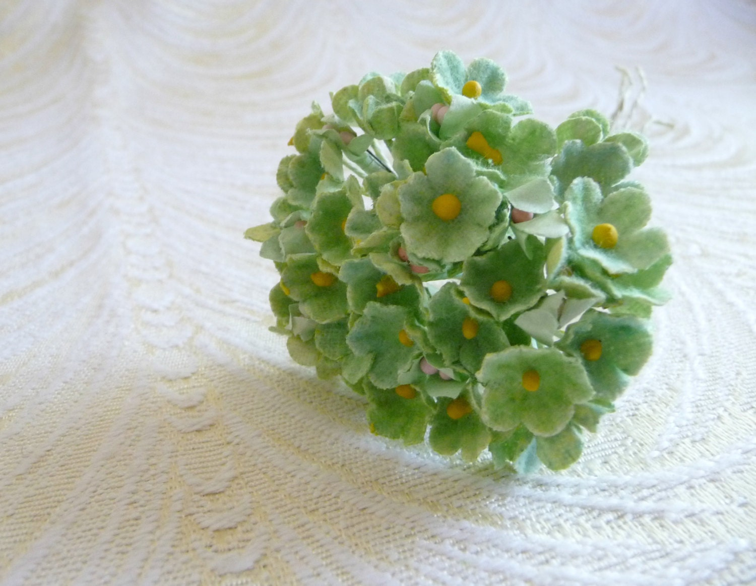 Vintage Paper Forget Me Not Flowers Nos Tiny Leaf Green Bunch Etsy