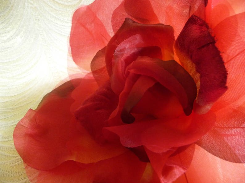 Large Red Silk and Velvet Rose Millinery Flower for Hats Gowns Weddings Home Dec Fascinators