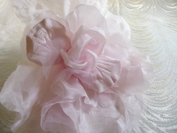 Pale Pink Large Silk And Velvet Rose Millinery Flower For Hats Etsy