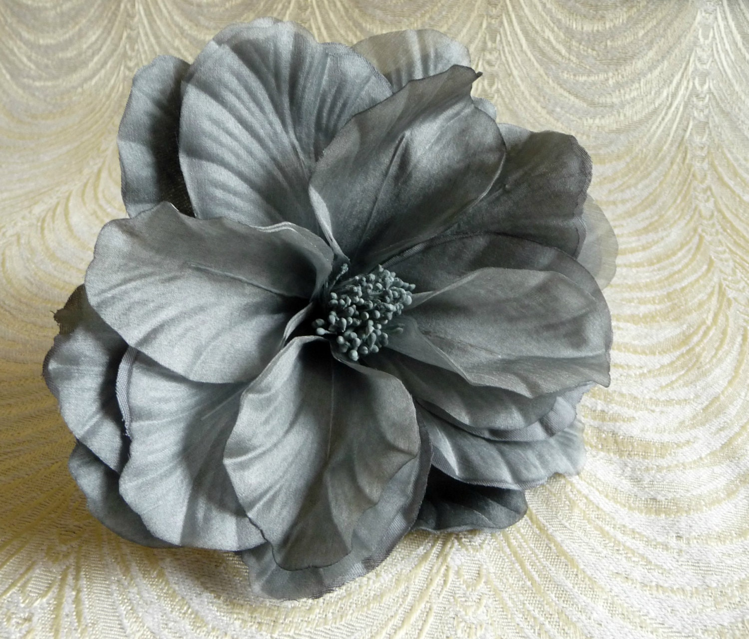 Large Slate Gray Cabbage Rose Double Petal Silk Flower For Etsy