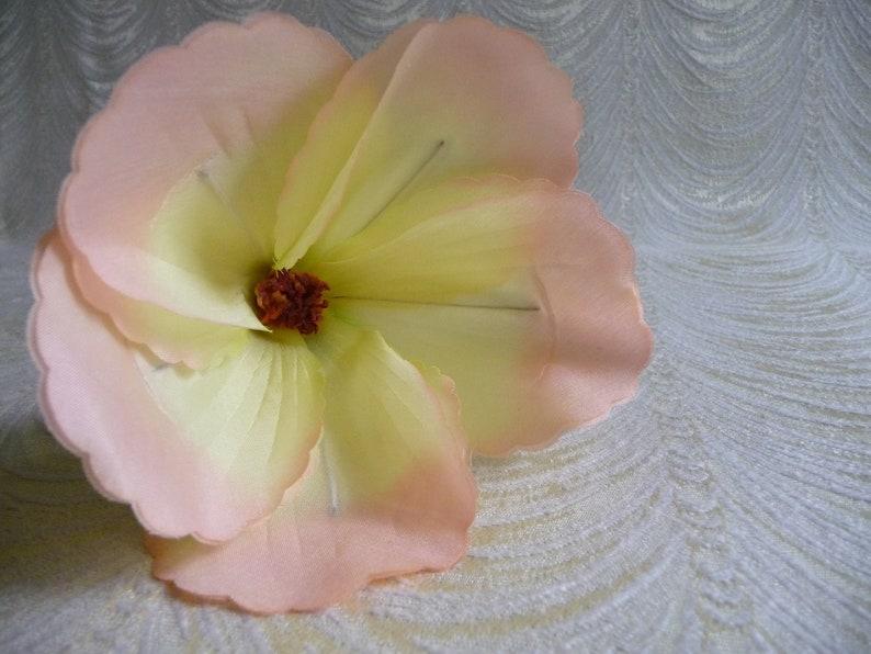 Vintage Satin Hibiscus Yellow Peach Shaded Millinery Flower NOS Japan Long Stem for Hats Fascinators Floral Arrangements