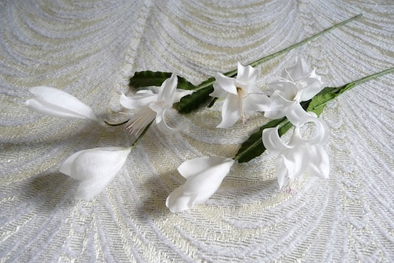 Two stems vintage orange blossoms buds white silk flowers etsy image 0 mightylinksfo
