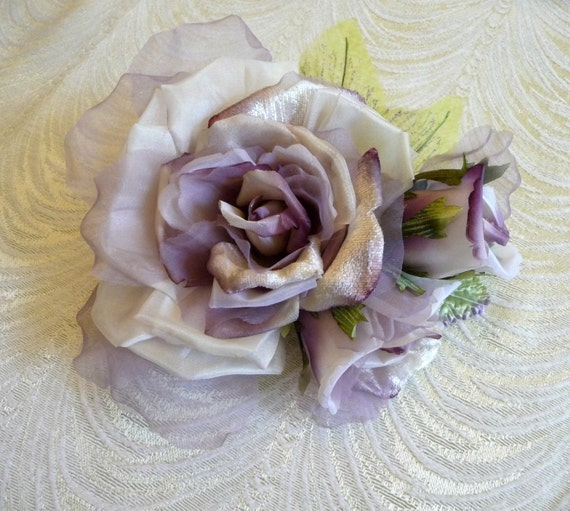 LARGE VELVET and ORGANZA  MILLINERY ROSE CREAM
