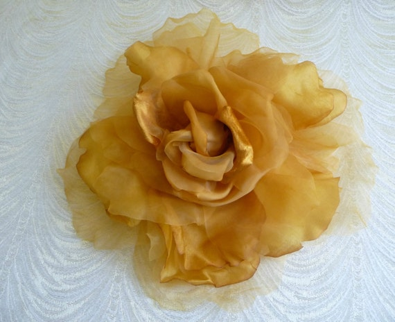 Extra Large Silk And Velvet Rose Butterscotch Gold Shaded Etsy