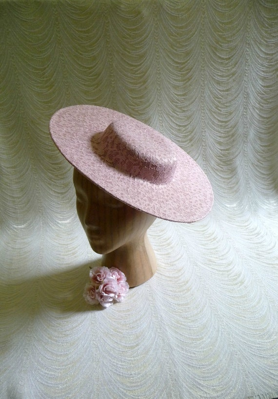b77a8b55236 Mauve Pink Saucer Hat Base Lace Covered Straw Fascinator Blush