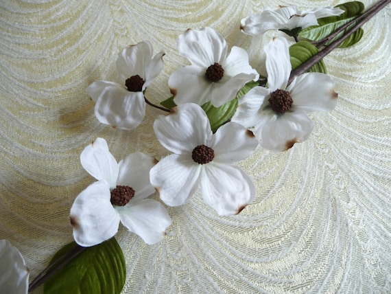 White silk dogwood flowers spray of 8 blossoms on twig nos for etsy image 0 mightylinksfo