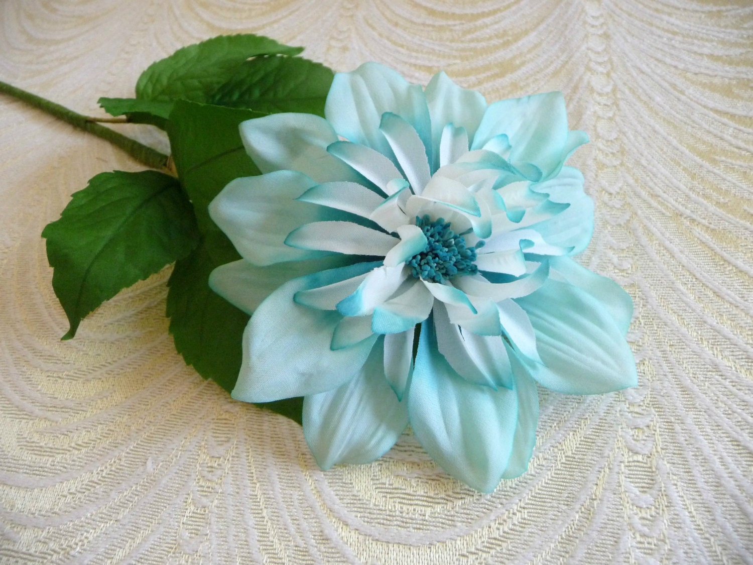 Vintage Silk Millinery Dahlia Flower Nos Germany Turquoise Etsy