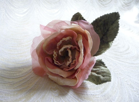 Velvet and silk rose millinery flower pink ivory mauve with etsy image 0 mightylinksfo