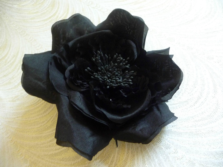 Large Black Silk Rose Millinery Flower Flat With Elaborate Etsy