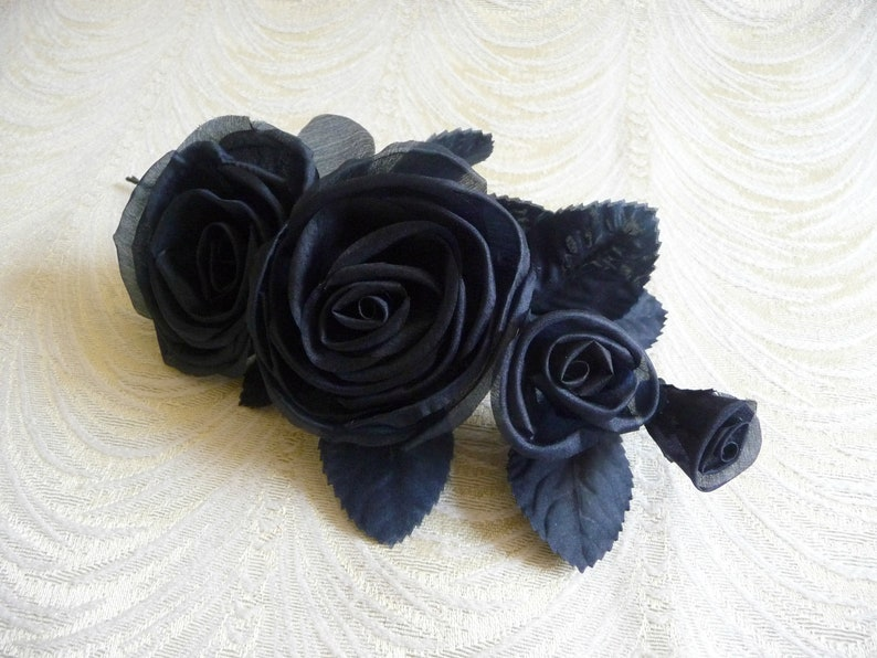 Hats Millinery Flowers 3FN0061N Gowns Dark Navy Blue Silk Roses and Buds for Corsage