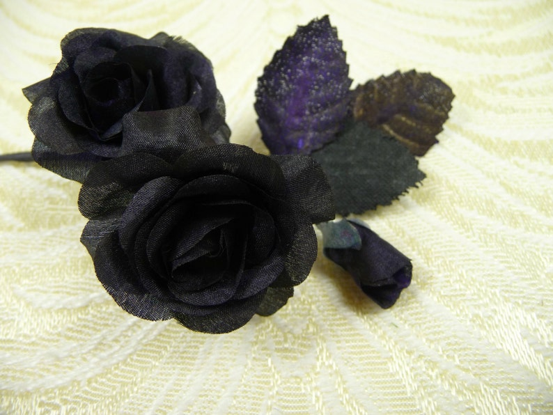 Tiny Black Roses Vintage Millinery With Bud Nos Small Silk Etsy