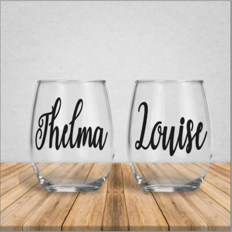 54c9c5fc909 Thelma and Louise Vinyl Wine Glass Set | Etsy