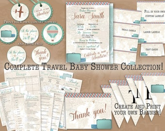 "Vintage Travel Complete Baby Shower Collection || Invitation, Thank You Cards, Games, Labels, Cupcake Toppers & Banner || Printable 8.5""x11"""