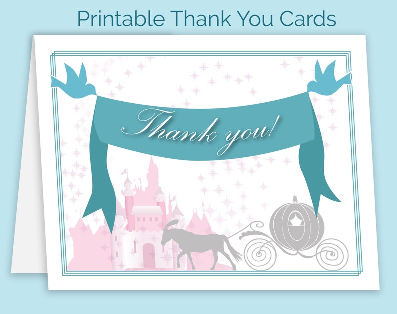 Bridal Shower Castle Fairytale 4.25x5.5 1 or 2 per 8.5x11 page Disney Wedding Thank You Card Files Instant Download Printable