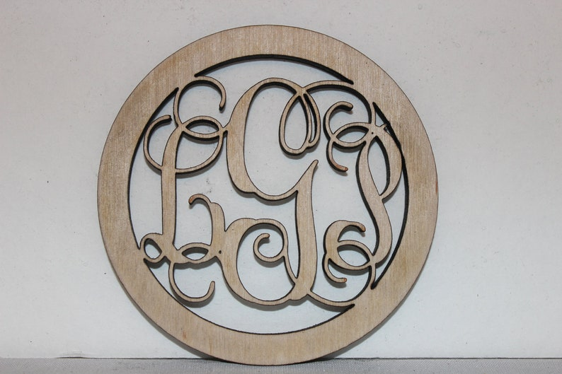 12 Inch Wood Monogram with Border image 0