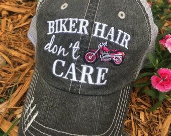 a5562102c8888 Hat   Biker hair dont care     Muddin  hair dont care     Messy hair don t  care   Customize with bike names   more!