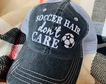 7819ac4e0f0 Hats   Soccer mom     Soccer hair dont care   Customize with players name  and numbers!